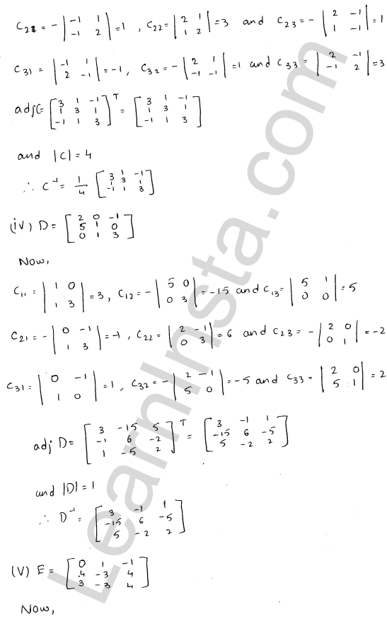 RD Sharma Solutions Class 12 Adjoint and Inverse of a Matrix 7 Ex 7.1 13