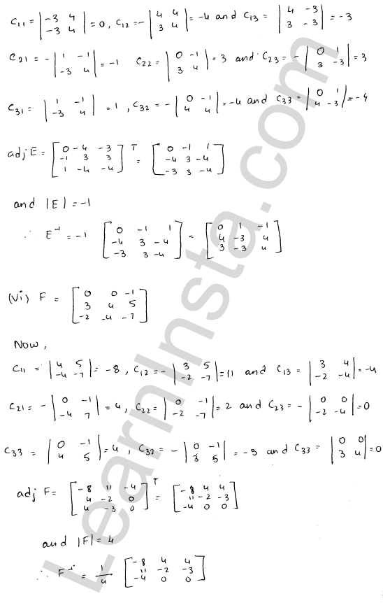 RD Sharma Solutions Class 12 Adjoint and Inverse of a Matrix 7 Ex 7.1 14