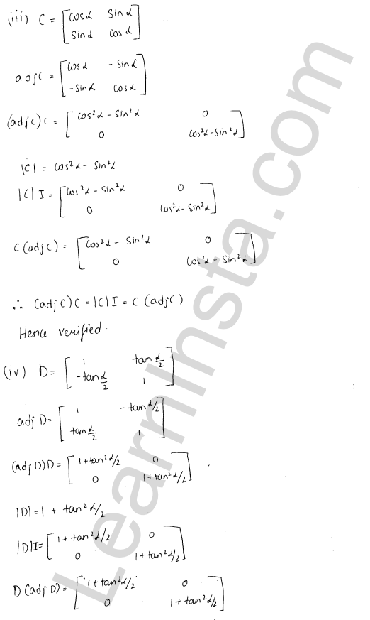 RD Sharma Class 12 Solutions Chapter 7 Adjoint and Inverse of a Matrix Ex 7.1 2
