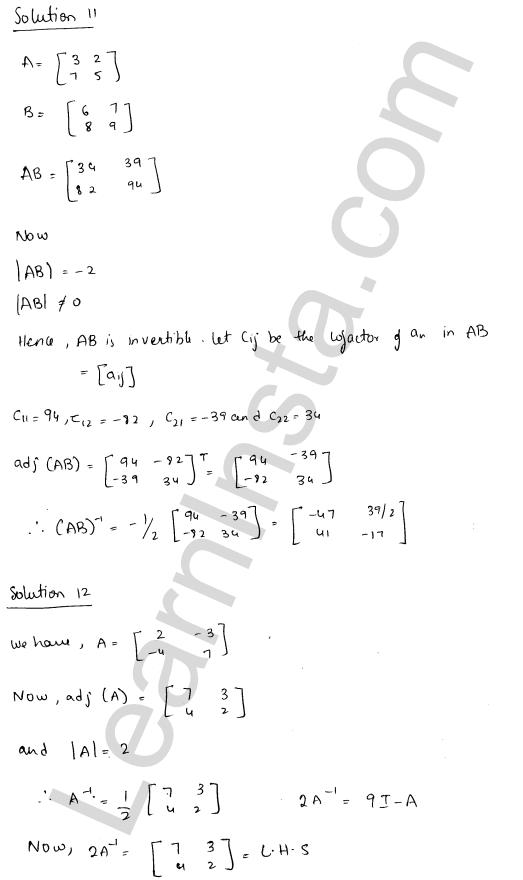 RD Sharma Class 12 Maths Solutions Chapter 7 Adjoint and Inverse of a Matrix Ex 7.1 20
