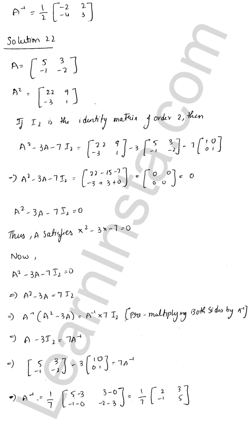RD Sharma Class 12 Solutions Adjoint and Inverse of a Matrix Chapter 7 Ex 7.1 30