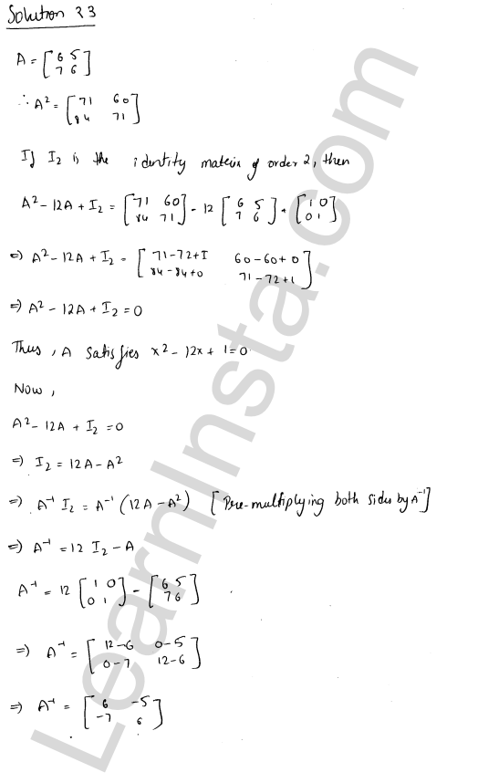 RD Sharma Class 12 Solutions Adjoint and Inverse of a Matrix Chapter 7 Ex 7.1 31