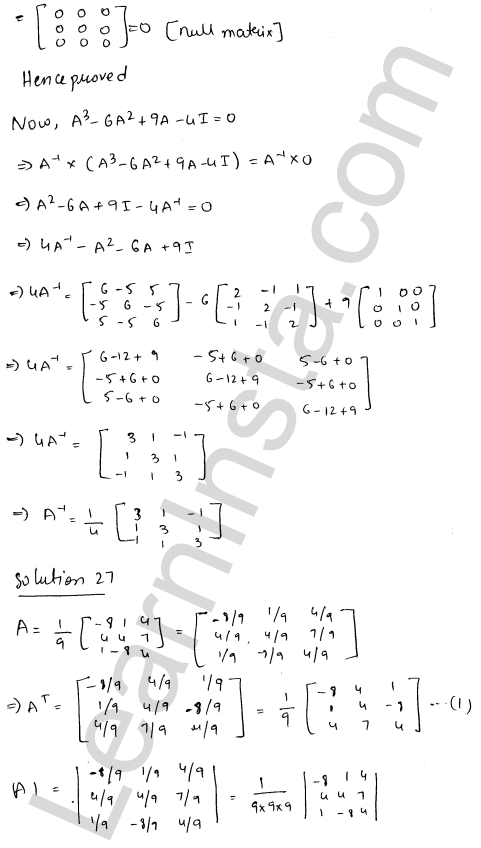 RD Sharma Solutions Class 12 Adjoint and Inverse of a Matrix Chapter 7 Ex 7.1 36