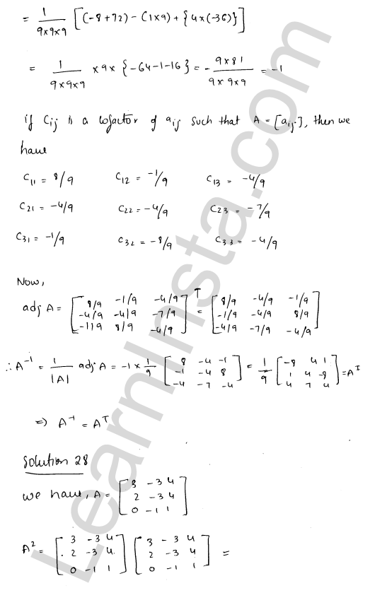 RD Sharma Solutions Class 12 Adjoint and Inverse of a Matrix Chapter 7 Ex 7.1 37