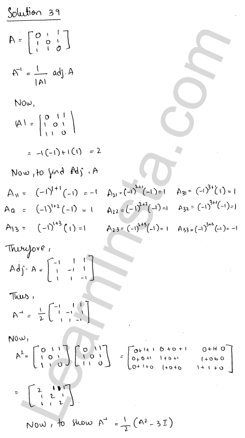 RD Sharma Class 12 Solutions Adjoint and Inverse of a Matrix Chapter 7 Ex 7.1 50