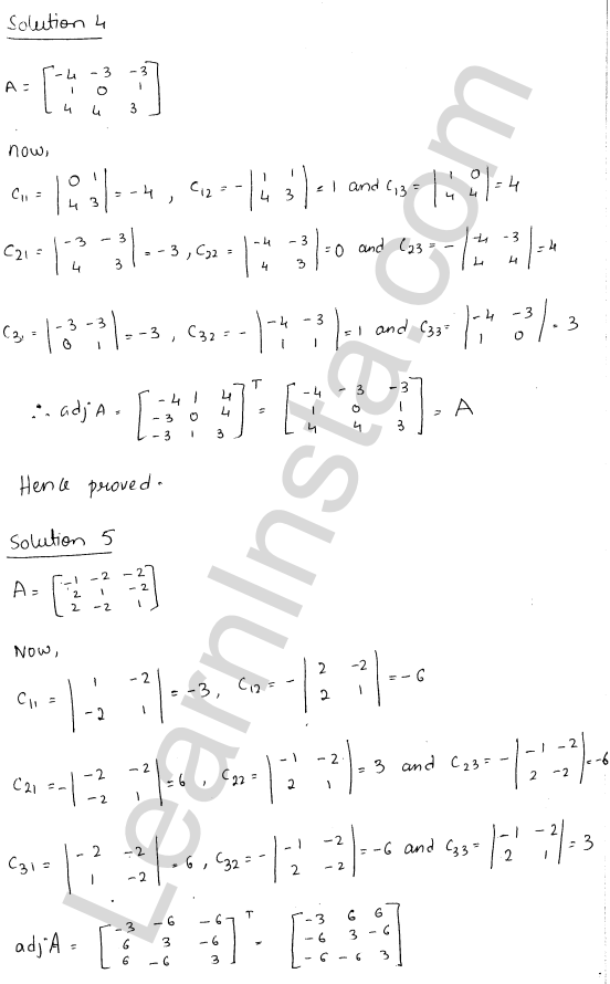RD Sharma Class 12 Solutions Adjoint and Inverse of a Matrix 7 Ex 7.1 7