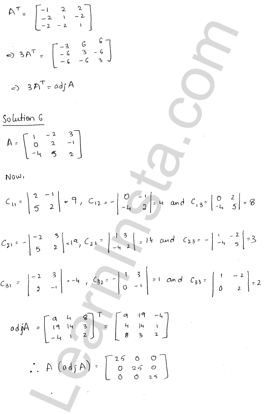 RD Sharma Class 12 Solutions Adjoint and Inverse of a Matrix 7 Ex 7.1 8
