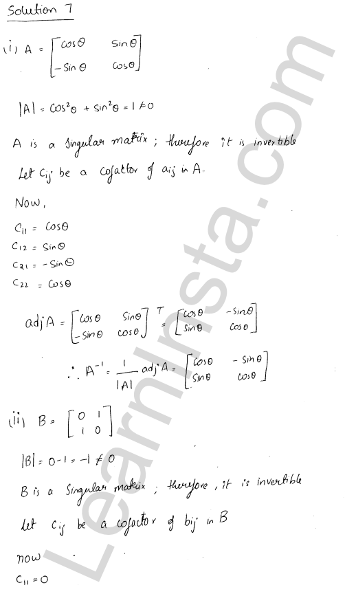 RD Sharma Class 12 Solutions Adjoint and Inverse of a Matrix 7 Ex 7.1 9