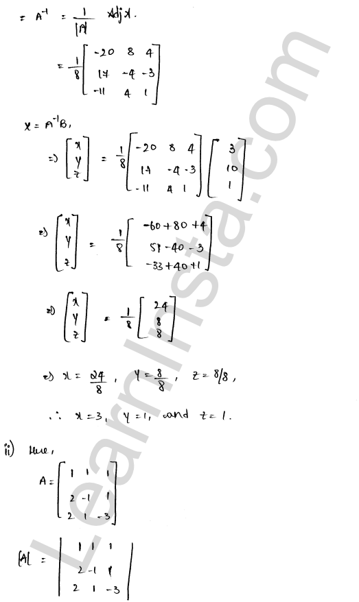 RD Sharma Class 12 Solutions Solution of Simultaneous Linear Equations Chapter 8 Ex 8.1 10