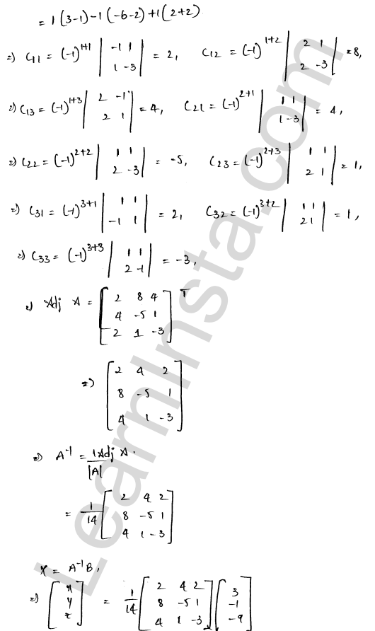 RD Sharma Solutions Class 12 Solution of Simultaneous Linear Equations Chapter 8 Ex 8.1 11