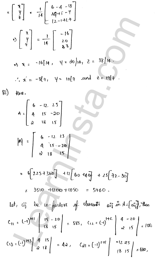 RD Sharma Solutions Class 12 Solution of Simultaneous Linear Equations Chapter 8 Ex 8.1 12
