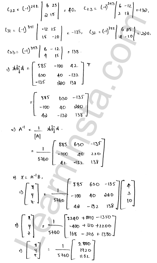 RD Sharma Solutions Class 12 Solution of Simultaneous Linear Equations Chapter 8 Ex 8.1 13