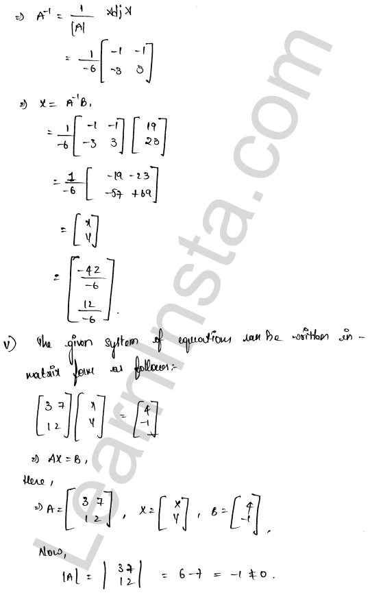 RD Sharma Solutions Class 12 Solution of Simultaneous Linear Equations Chapter 8 Ex 8.1 15