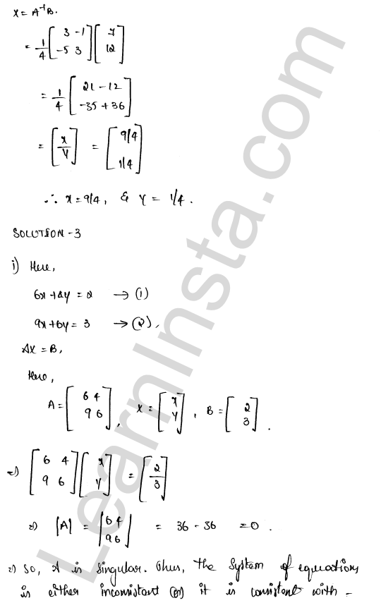 RD Sharma Class 12 Maths Solutions Chapter 8 Solution of Simultaneous Linear Equations Ex 8.1 18