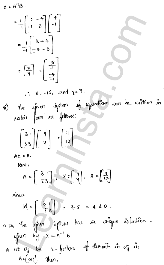 RD Sharma Class 12 Solutions Solution of Simultaneous Linear Equations Chapter 8 Ex 8.1 7