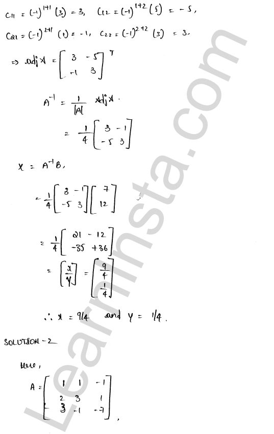RD Sharma Class 12 Solutions Solution of Simultaneous Linear Equations Chapter 8 Ex 8.1 8