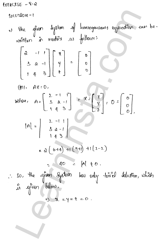 RD Sharma Class 12 Solutions Chapter 8 Solution of Simultaneous Linear Equations Ex 8.2 1