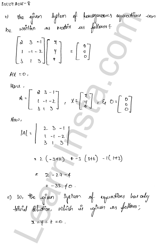 RD Sharma Class 12 Maths Solutions Chapter 8 Solution of Simultaneous Linear Equations Ex 8.2 11
