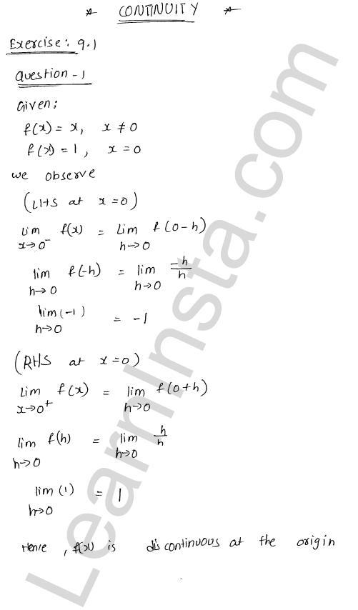 RD Sharma Class 12 Solutions Chapter 9 Continuity Ex 9.1 1
