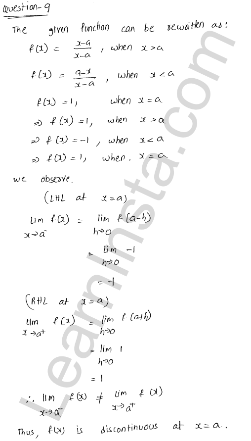 RD Sharma Solutions Class 12 Continuity Chapter 9 Ex 9.1 11