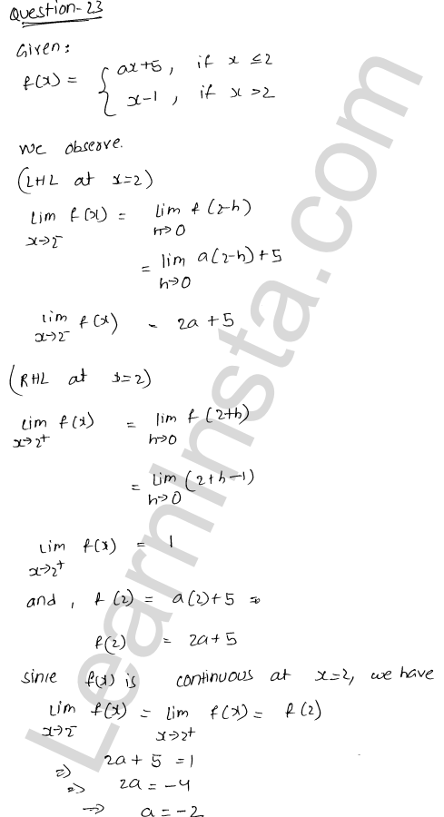 class 12 RD Sharma solutions chapter 9 Continuity Ex 9.1 29