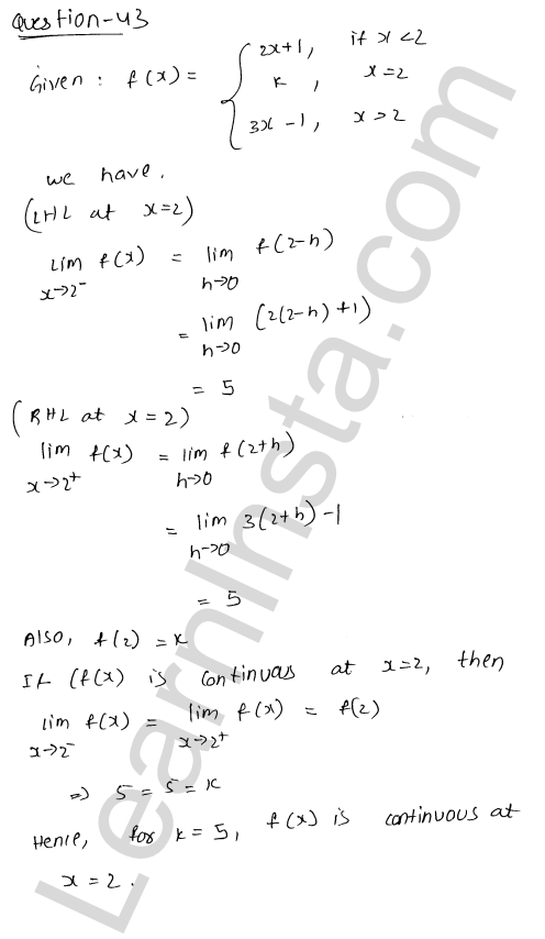 solution of RD Sharma class 12 chapter 9 Continuity Ex 9.1 62