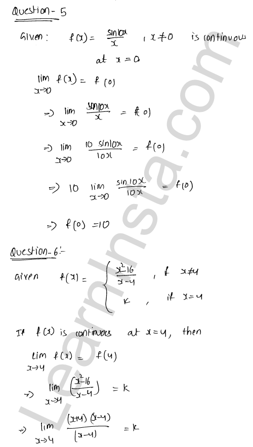 RD Sharma Solutions Class 12 Continuity Chapter 9 VSAQ 3