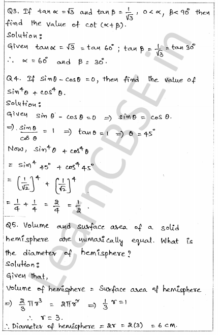 Solved CBSE Sample Papers for Class 10 Maths Paper 1 2
