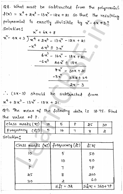 Solved CBSE Sample Papers for Class 10 Maths Paper 1 4