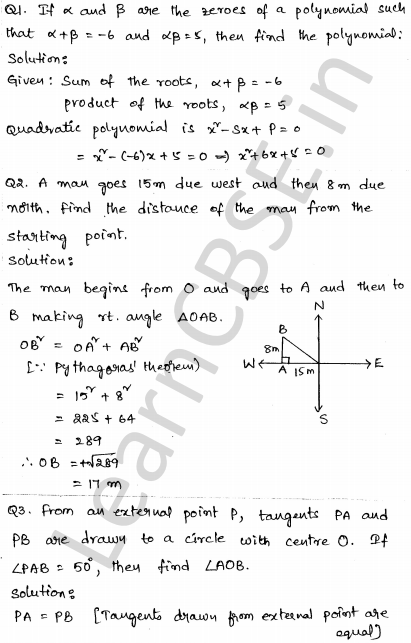 Solved CBSE Sample Papers for Class 10 Maths Paper 3 1