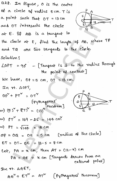 Maths Sample Question Papers for Class 10 Paper 3 28