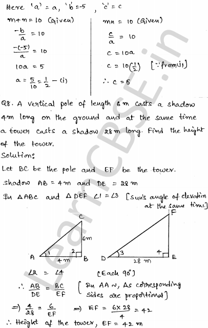 CBSE Sample Papers for Class 10 Maths Solved paper 3 4