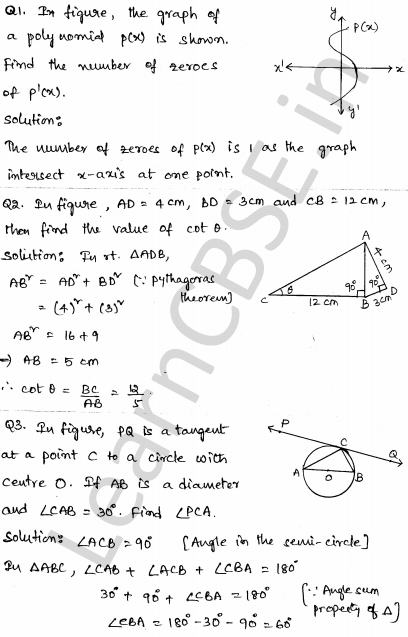 Solved CBSE Sample Papers for Class 10 Maths Paper 4 1