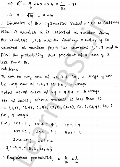 Maths Sample Question Papers for Class 1o Paper 4 17