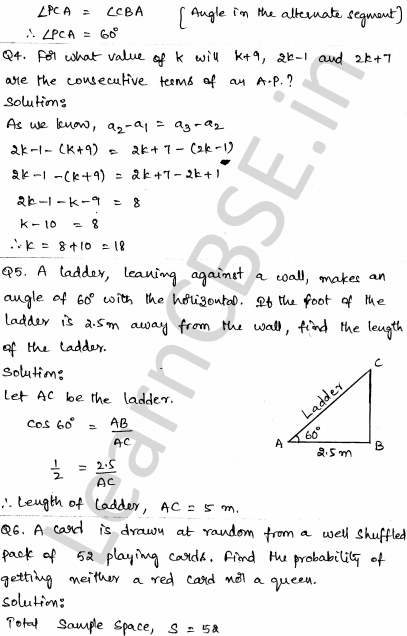 Solved CBSE Sample Papers for Class 10 Maths Paper 4 2