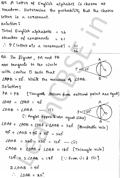 Solved CBSE Sample Papers for Class 10 Maths Paper 5 3