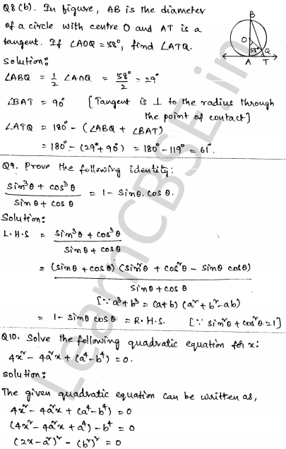 CBSE Sample Papers for Class 10 Maths Solved paper 5 5