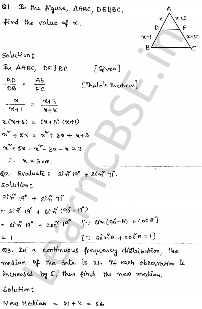 Solved CBSE Sample Papers for Class 10 Maths Paper 6 1