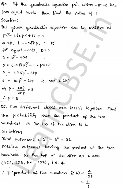 Solved CBSE Sample Papers for Class 10 Maths Paper 6 2