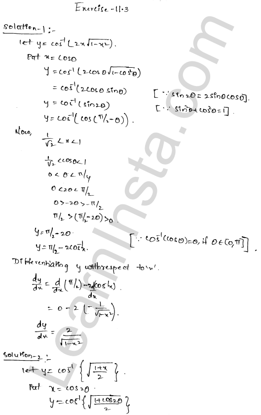 RD Sharma Class 12 Solutions Chapter 11 Differentiation Ex 11.3 1