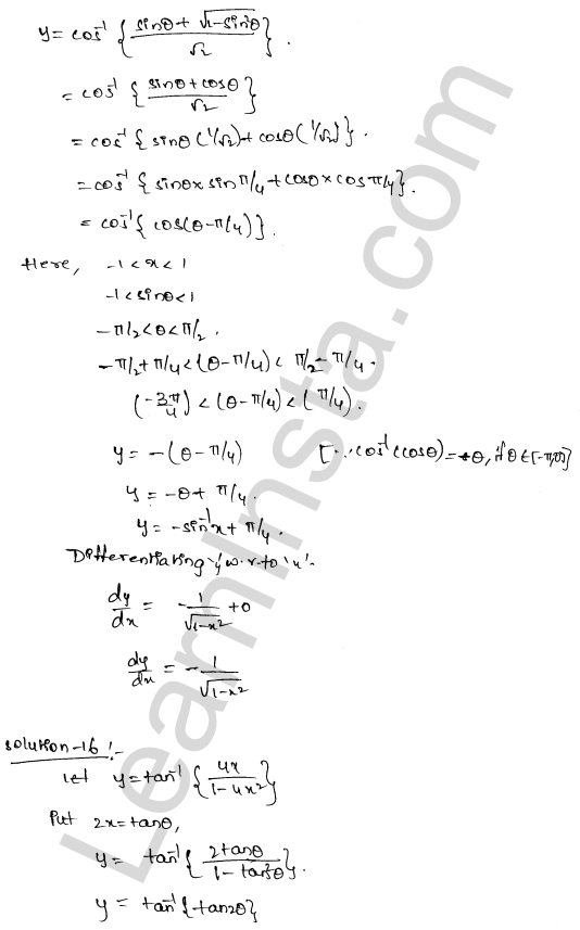 RD Sharma Solutions Class 12 Differentiation Chapter 11 Ex 11.3 10