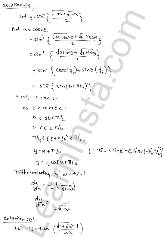 RD Sharma Class 12 Maths Solutions Chapter 11 Differentiation Ex 11.3 13