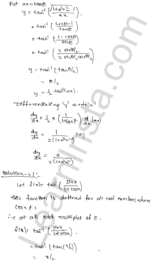 Solution of RD Sharma class 12 chapter 11 Differentiation Ex 11.3 14