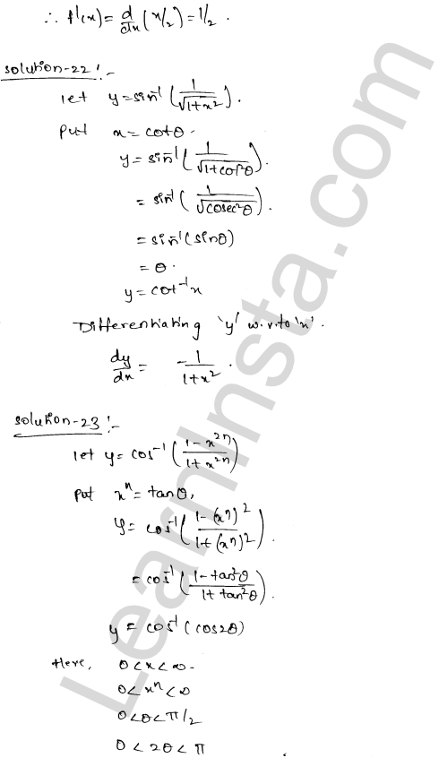 RD Sharma Class 12 Solutions Chapter 11 Differentiation Ex