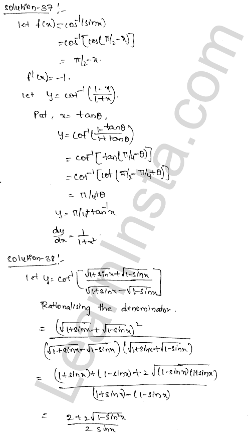 Class 12 RD Sharma maths solutions chapter 11 Differentiation Ex 11.3 22