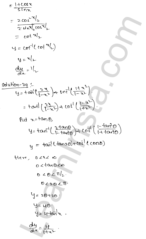 Class 12 RD Sharma maths solutions chapter 11 Differentiation Ex 11.3 23