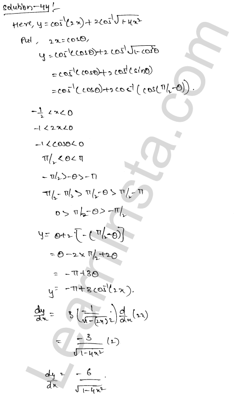 Solution of RD Sharma class 12 chapter 11 Differentiation Ex 11.3 26