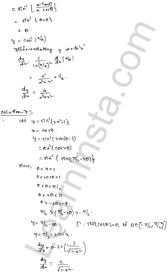 RD Sharma Class 12 Solutions Chapter 11 Differentiation Ex 11.3 4