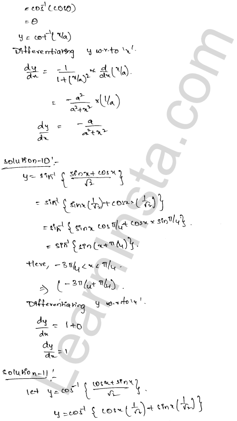 RD Sharma Class 12 Solutions Differentiation Chapter 11 Ex 11.3 6