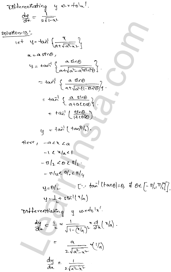 RD Sharma Class 12 Solutions Differentiation Chapter 11 Ex 11.3 8